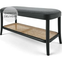 Raleigh Storage Bench, Grey and Rattan
