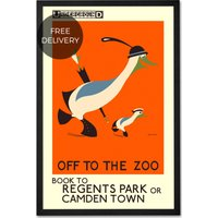 Off To The Zoo, Retro Wall Art Print by Reginald Rigby