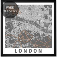 London Graphic Map, Framed Wall Art Print