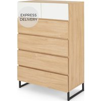 MADE Essentials Hopkins Tall Multi Chest Of Drawers, Oak Effect & White