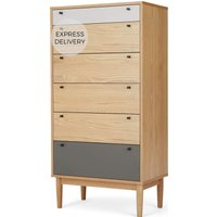 Campton Tall Multi Chest of Drawers, Oak & Grey