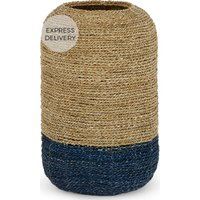 Product photograph showing Soller Seagrass Rounded Tall Basket Blue