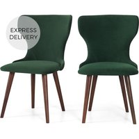 Set of 2 Bjorg Dining Chairs, Pine Green Velvet and Walnut