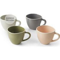 Product photograph showing Noah Set Of 4 Mugs Pink Green Grey And White