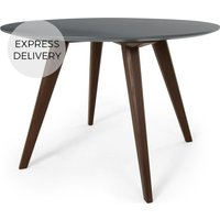 Product photograph showing Aveiro 4 Seat Round Dining Table Dark Stain Oak And Grey