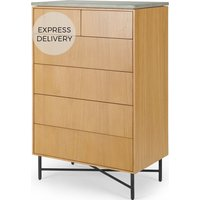 Dara Tall Chest of Drawers, Oak & Concrete