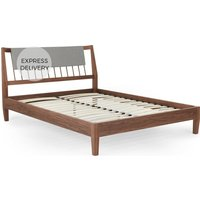 Mara Double Bed, Walnut and Grey