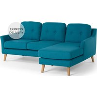 Rufus Right Hand Facing Chaise End Corner Sofa, Rich Azure