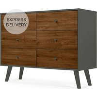 Larsen Wide Chest Of Drawers, Walnut Effect & Grey