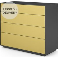 Jena Chest of Drawers, Grey Mango Wood and Brushed Brass