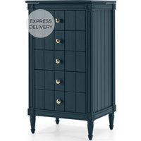 Bourbon Vintage Vanity Chest of Drawers, Dark Blue