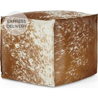 Kirby Square Pouffe, Cowhide Leather