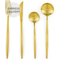 Product photograph showing Tome 16pc Cutlery Set Matt Gold