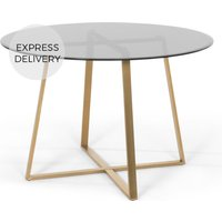 Product photograph showing Haku 4 Seat Round Large Dining Table Brass And Smoked Glass