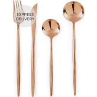 Product photograph showing Tome 16pc Cutlery Set Mirror Copper