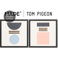 Assembly Tom Pigeon Set of 2 Framed Wall Art Prints 40 x 40, Blue Pink & Gold Foil
