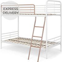 Product photograph showing Alana Metal Bunk Bed White And Copper