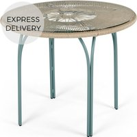 Product photograph showing Lyra Garden 4 Seater Round Dining Table Grey And Blue