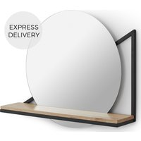 Huldra Wall Mounted Mirror with Shelf, Black