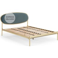Asare Super King Size Bed, Brass & Marine Green Velvet