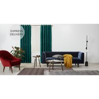 Product photograph showing Julius Velvet Eyelet Lined Pair Of Curtains Teal Blue 135 X 260cm