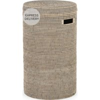 Product photograph showing Hadid Hand Woven Rattan Laundry Basket Grey