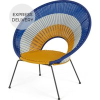 Product photograph showing Yuri Garden Lounge Chair Multi Woven Yellow And Mustard