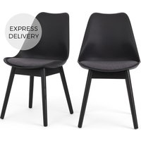 Product photograph showing Set Of 2 Thelma Dining Chairs Black And Grey Fabric