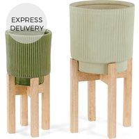 Product photograph showing Palm Set Of Two Earthenware Plant Stands Mint