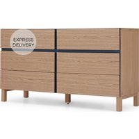 Xander Wide Chest of Drawers, Ash & Navy Blue