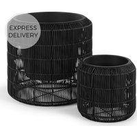 Product photograph showing Nadda Set Of Two Round Polyrattan Plant Stands Black