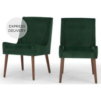 Product photograph showing Set Of 2 Higgs Dining Chairs Pine Green Velvet