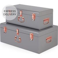 Gunner Set of 2 Metal Trunks, Grey and Copper