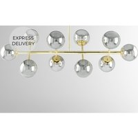 Product photograph showing Globe Pendant Chandelier Wide Brass And Smoked Glass