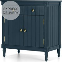 Bourbon Vintage Compact Sideboard, Dark Blue and Brass