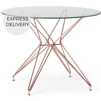 Product photograph showing Belden 4 Seat Round Dining Table Glass And Copper