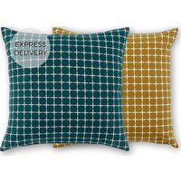 Product photograph showing Made Essentials Manilla Set Of 2 Cushions 45x45cm Mustard Teal