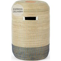 Cam Seagrass Laundry Basket, Pink & Navy Blue