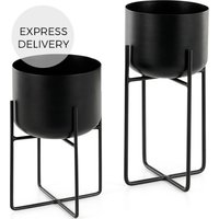 Product photograph showing Salix Set Of Two Plant Stands Black