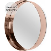 Product photograph showing Alana Round Wall Mirror Extra Large 80 X 80 Cm Copper