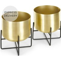 Product photograph showing Salix Set Of Two Low Plant Stands Brass