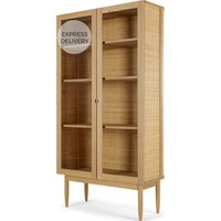 Liana Glass Woven Cabinet, Ash and Rattan