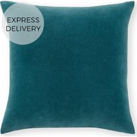 Product photograph showing Lorna Velvet Cushion 45 X 45 Cm Agean Blue