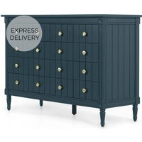 Bourbon Wide Chest Of Drawers, Vintage Blue