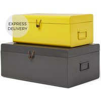 Daven Set of 2 Metal Storage Box Trunks, Yellow and Charcoal