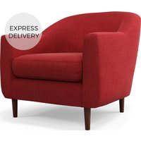 Custom MADE Tubby Armchair, Postbox Red with Dark Wood Legs