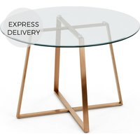 Product photograph showing Haku 4 Seat Round Large Dining Table Copper And Glass
