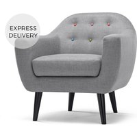 Ritchie Armchair, Pearl Grey with Rainbow Buttons