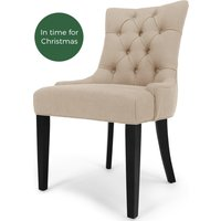 Flynn Scoop Back Dining Chair, Biscuit Beige and Black