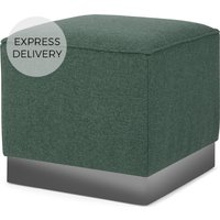 Product photograph showing Hetherington Square Pouffe Darby Green With Nickel Base